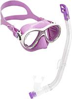 Cressi C/Set Estrella VIP Jr Clear/Lime Kit de Snorkeling, Unisex niños